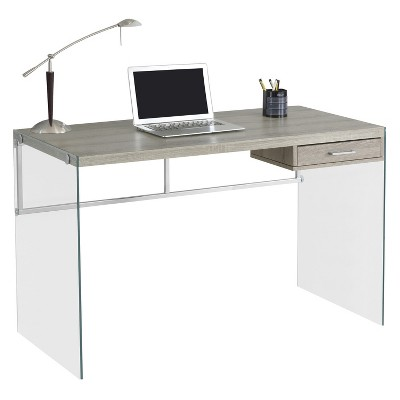Tempered Glass Computer Desk - Dark Taupe - EveryRoom : Target