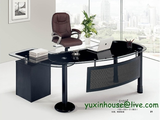 Tempered glass office desk boss desk table commercial office