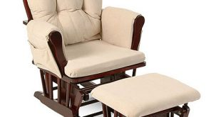 Storkcraft Bowback Glider and Ottoman Cherry Finish and Beige