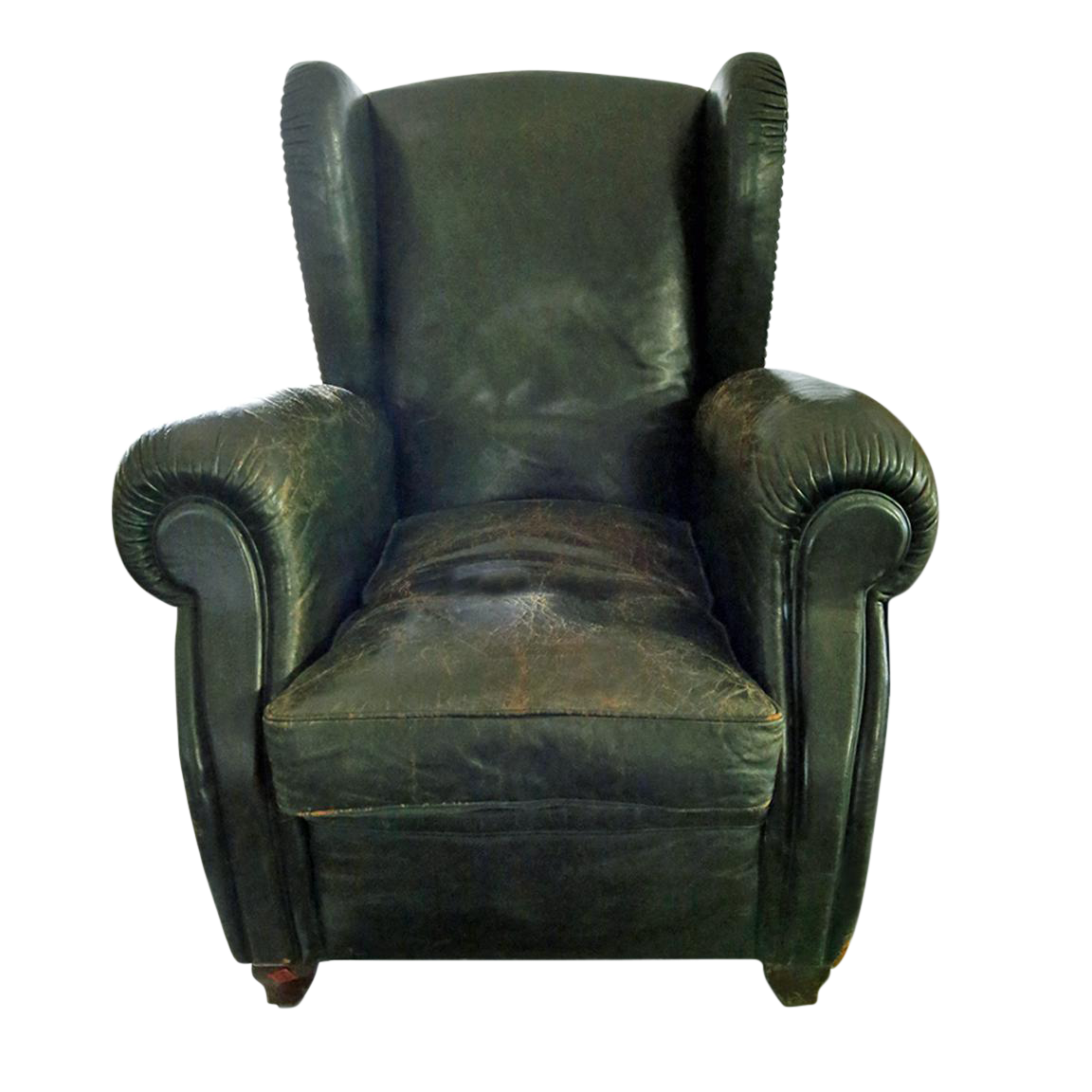 Vintage Green Leather Armchair | Chairish