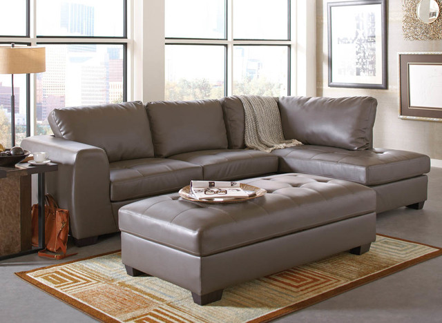Joaquin Grey Leather Sectional - Modern - Sectional Sofas - by