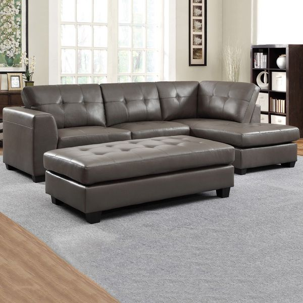 Carmine Grey Bonded Leather Sectional With Chaise And Optional