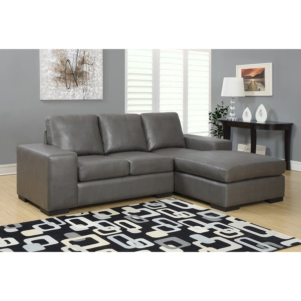 Shop Charcoal Grey Bonded Leather Sectional Sofa Lounger - Free