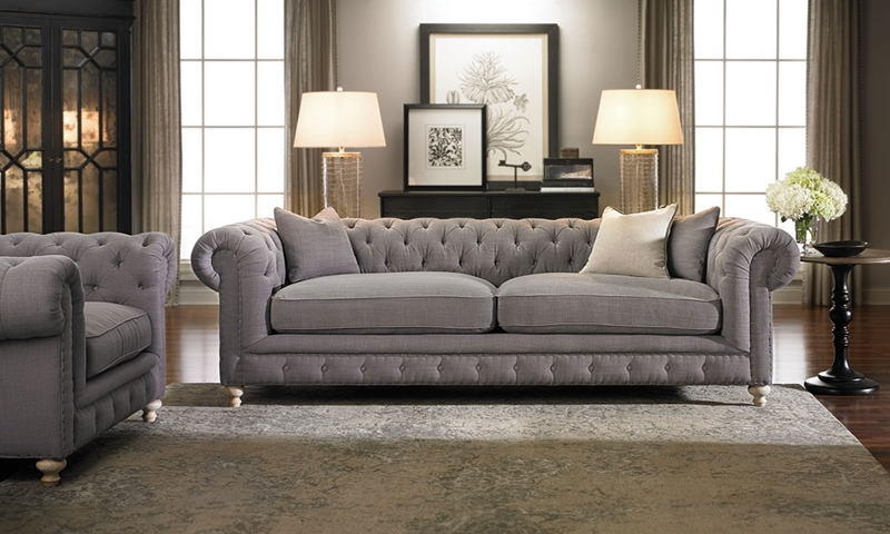 Francis Drake Chesterfield Grey Sofa | Haynes Furniture