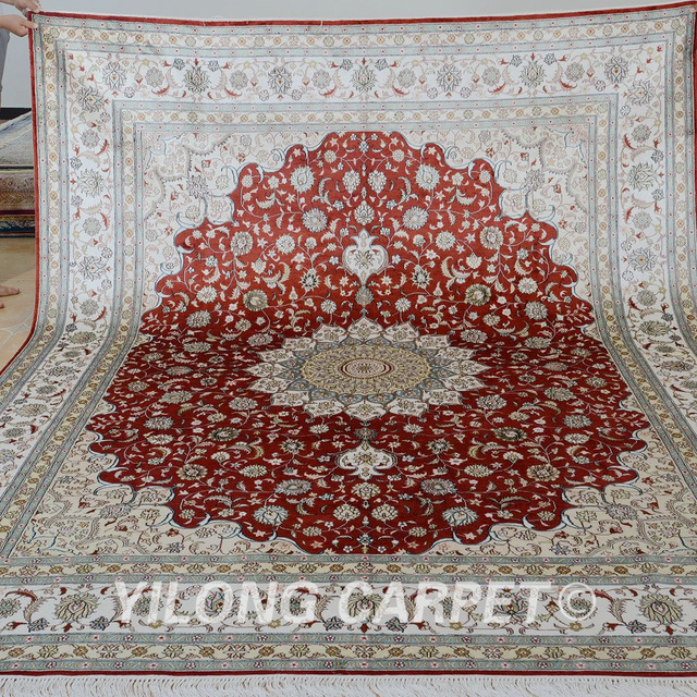 Yilong 8'x10' handmade silk persian rugs antique red china silk