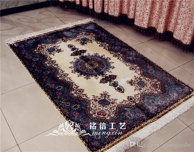 Mingxin Carpet 4x6 Feet Flower Hand Woven 100% Silk Carpet Handmade