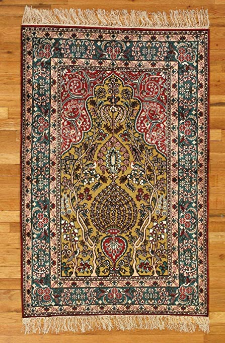 Amazon.com: Tabriz Elegant Handmade Rugs 3x5 Yellow Carved