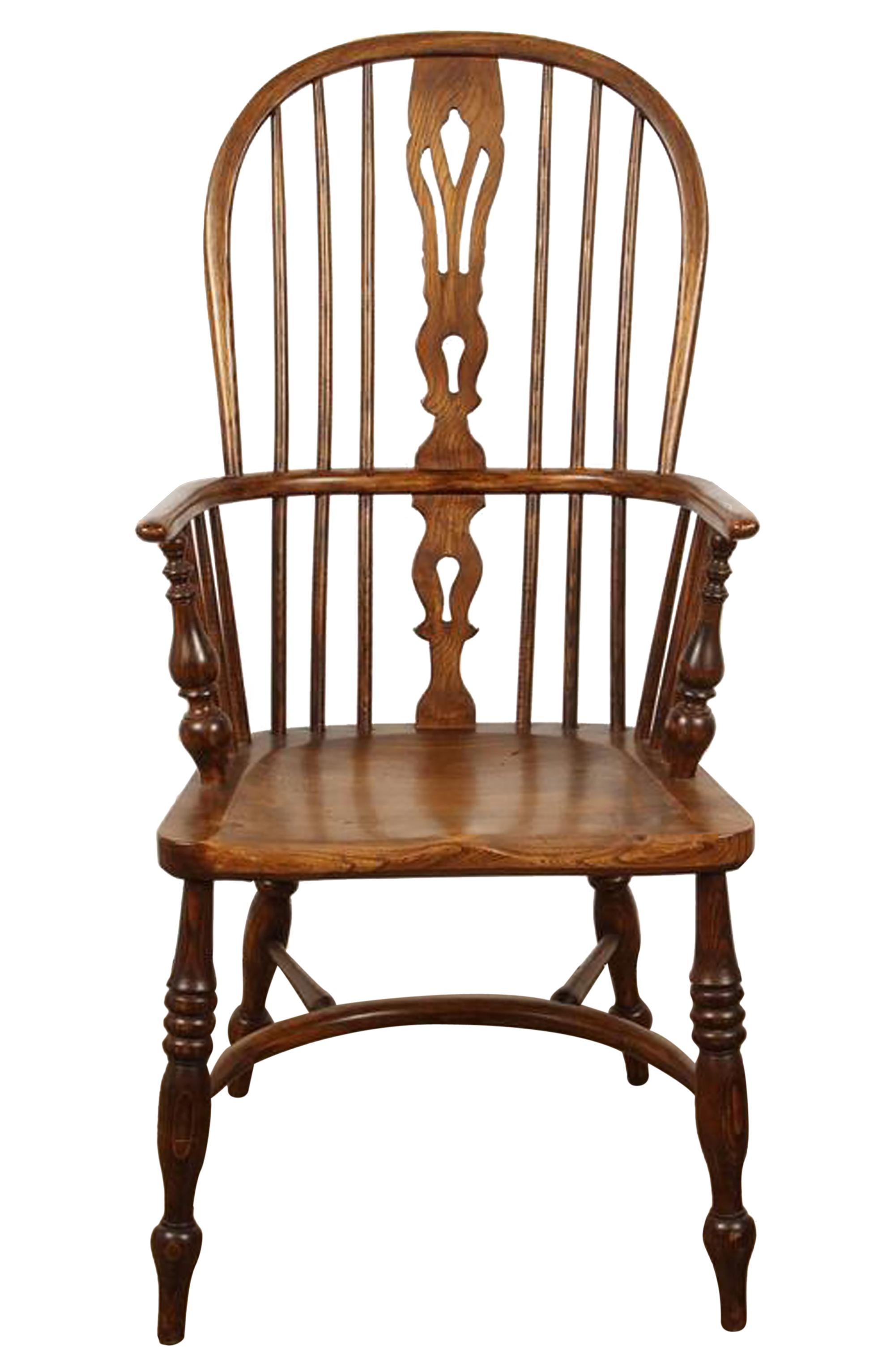 English Yew High Back Chair - Folk Art Traditional Armchairs & Club