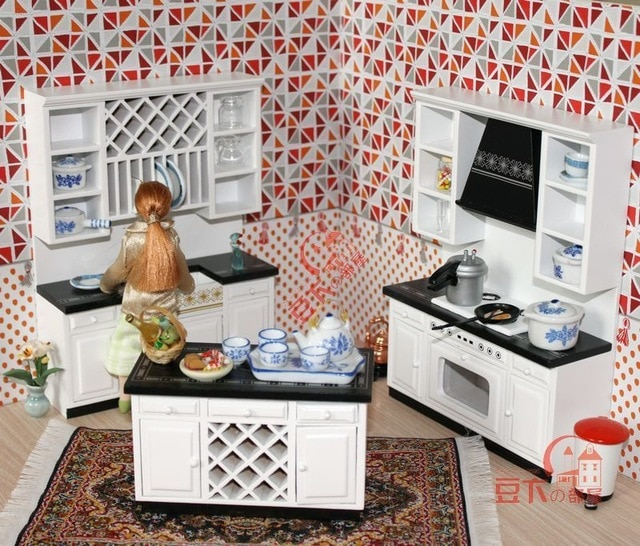 Mordern Wooden 1:12 Miniature Dollhouse Kitchen Furniture Cabinets