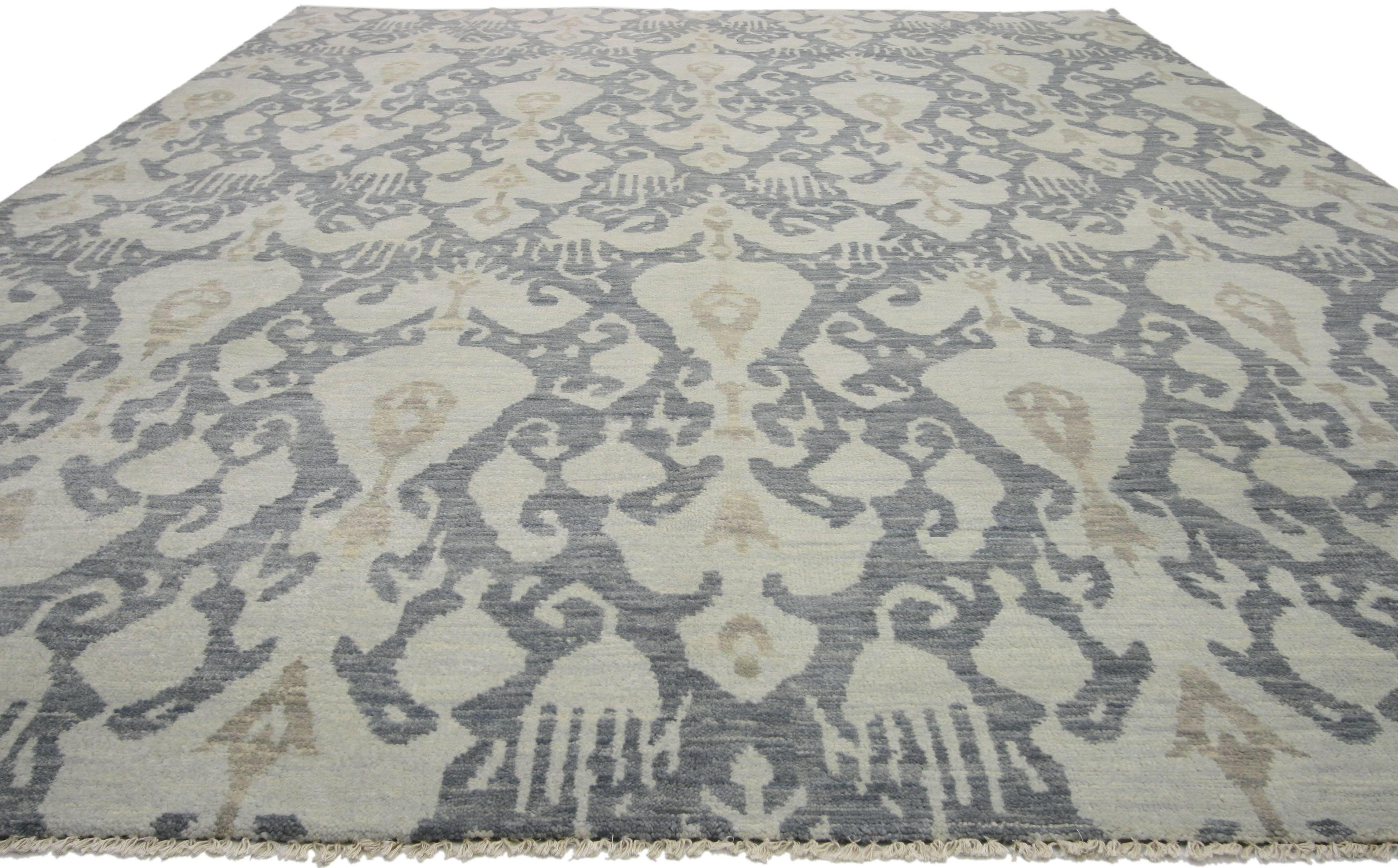 New Modern Transitional Ikat Style Area Rug, Gray-Blue Ikat Rug For