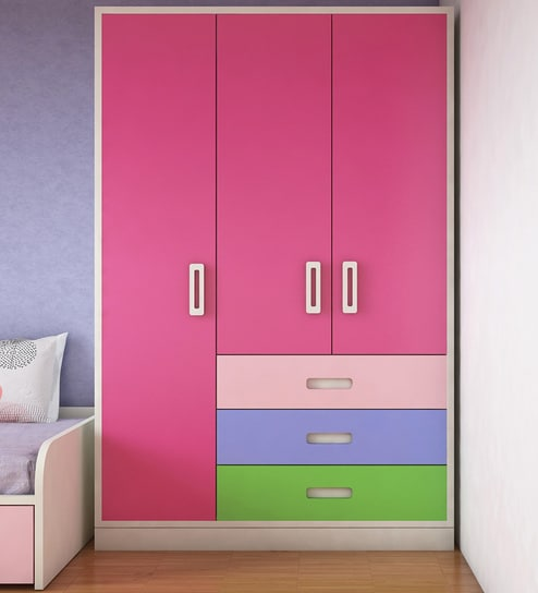 Buy Fiona Kids' Three Door Multicolor Wardrobe In Barbie Pink Finish