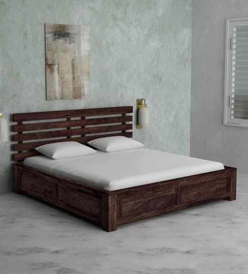 Buy Stigen Solid Wood King Size Bed with Box Storage in Provincial