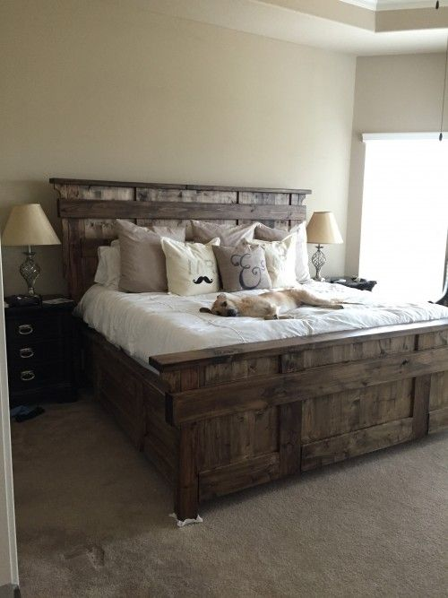 Kind size bed | Wood Projects | Pinterest | Farmhouse bedroom