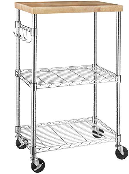 Amazon.com: AmazonBasics Microwave Cart on Wheels, Wood/Chrome: Home