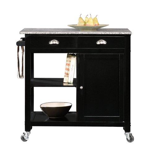 Better Homes & Gardens Kitchen Cart, Black/Granite Top - Walmart.com