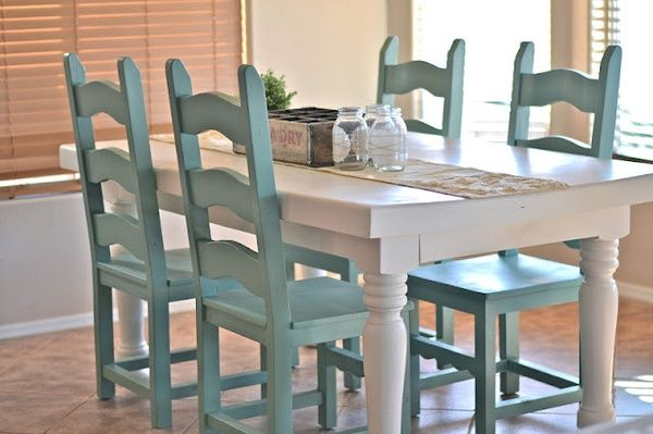 painted kitchen table and chairs-color combo for dining room: gray