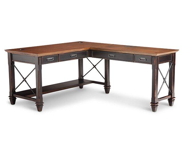 Hartford Pedestal L-Shaped Desk - Furniture Row