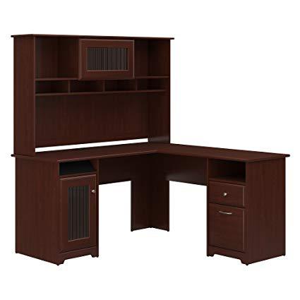 Amazon.com: Bush Furniture Cabot L Shaped Desk with Hutch in Harvest