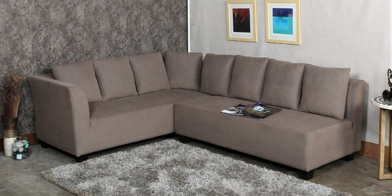 Buy Naples L Shaped Sofa Set with Cushions in Brown Colour by