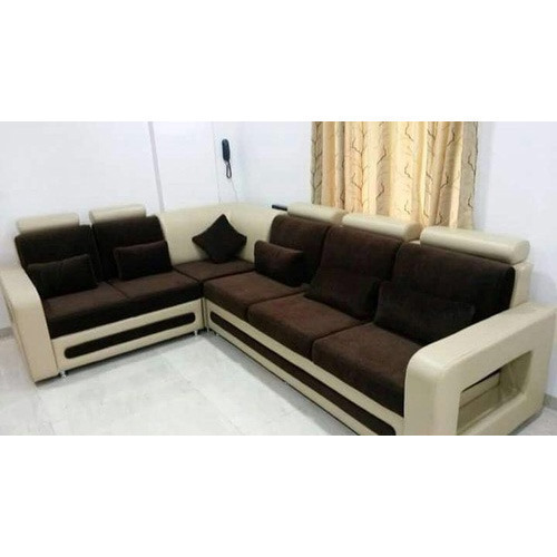 Wood And Leather L Shape Sofa, Warranty: 1 Year, Rs 37000 /set | ID
