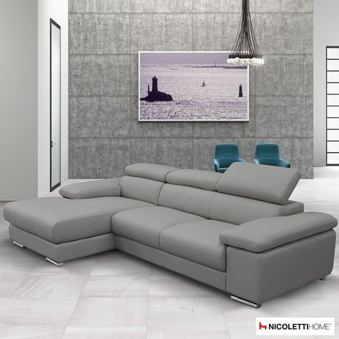 Nicoletti Lipari Grey Leather Sofa Chaise, Left-facing | Costco UK