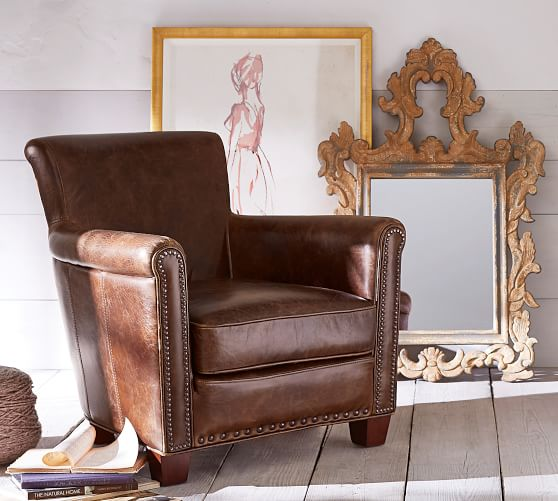 Irving Leather Armchairs & Ottomans | Pottery Barn