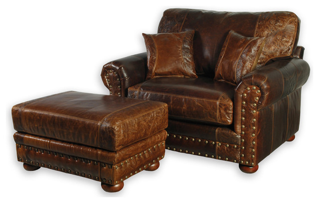 Western Style Leather Sofa Chair - Southwestern - Armchairs And