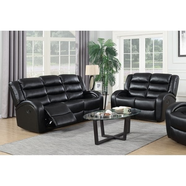 Shop Black 2Pc Leather Reclining Sofa & Loveseat Set - On Sale