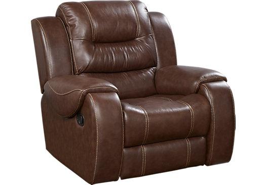 $599.99 - Veneto Brown Leather Rocker Recliner - Reclining