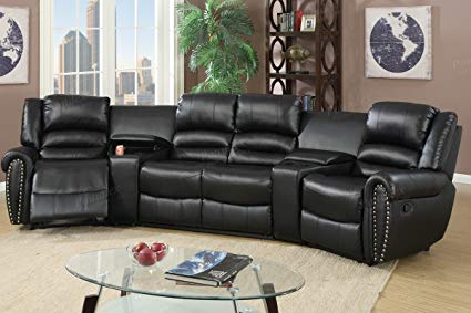 Amazon.com: 5pcs Black Bonded Leather Reclining Sofa Set Home