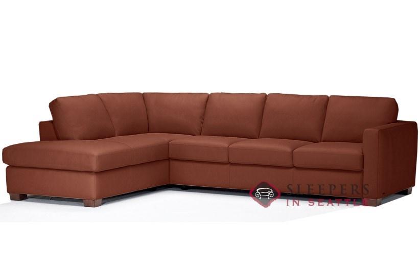 Natuzzi Editions Roya B735 Chaise Sectional Leather Sleeper Sofa in