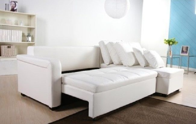 Modern White Leather Sectional Sleeper Sofa | Furniture | Pinterest