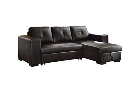 Amazon.com: ACME Lloyd Black Faux Leather Sectional Sofa with