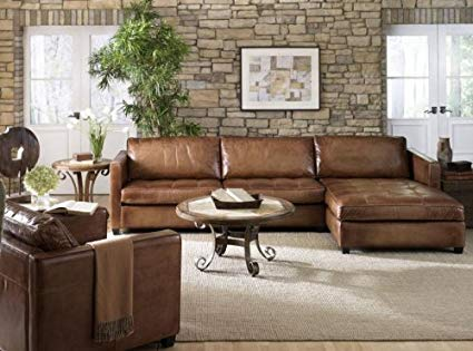 Amazon.com: Phoenix 100% Full Aniline Leather Sectional Sofa with