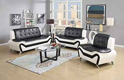 Amazon.com: US Pride Furniture 3 Piece Modern Bonded Leather Sofa