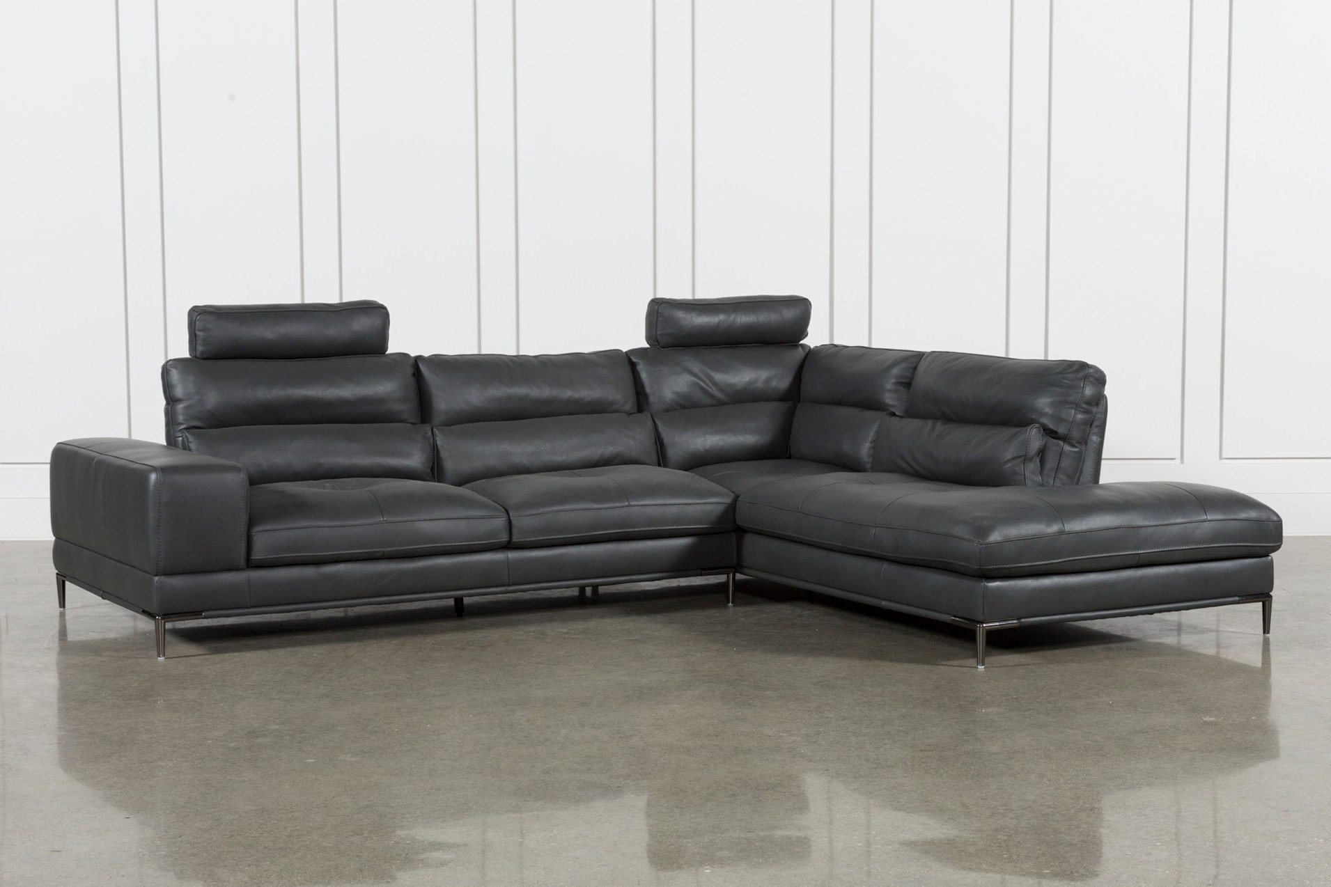 Tenny Dark Grey 2 Piece Raf Chaise Sectional W/2 Headrest | Living