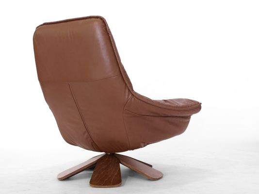 Vintage Leather Swivel Chair with Ottoman for sale at Pamono