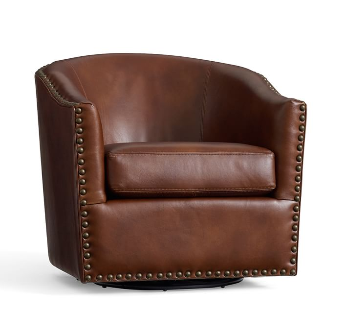 Harlow Leather Swivel Armchair   Pottery Barn