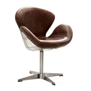 Top Grain Leather Swivel Chair   Wayfair