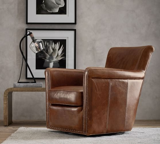 Irving Roll Arm Leather Swivel Armchair with Nailheads   Pottery Barn