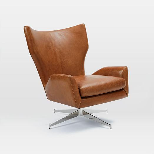 Hemming Leather Swivel Armchair   west elm