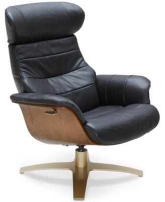 Furniture Annaldo Leather Swivel Chair - Furniture - Macy's