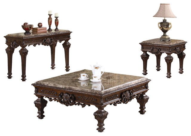 Traditional Living Room Table Set, 3-Piece Set - Victorian - Coffee