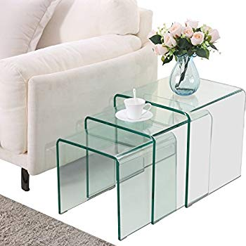 Amazon.com: SUNCOO Glass Coffee Table Set of 3 End Side Table Living