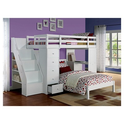 Freya Kids Loft Bed With Bookcase - White(Twin) - Acme : Target