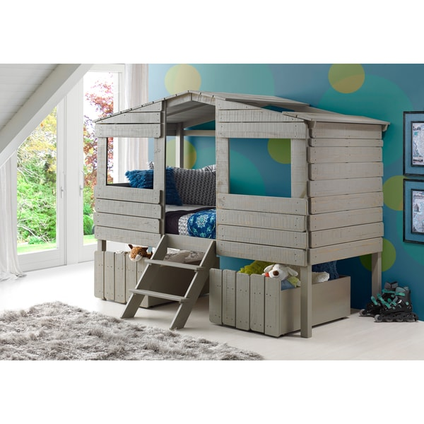 Shop Donco Kids Rustic Grey Finished Pine Wood Twin Tree House Loft