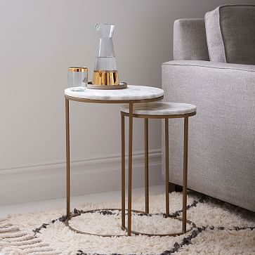 Marble Round Nesting Side Table (Set of 2) | west elm