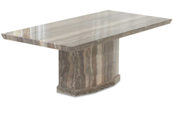 Calvera 200cm Brown Pedestal Marble Dining Table | Thomas Brown