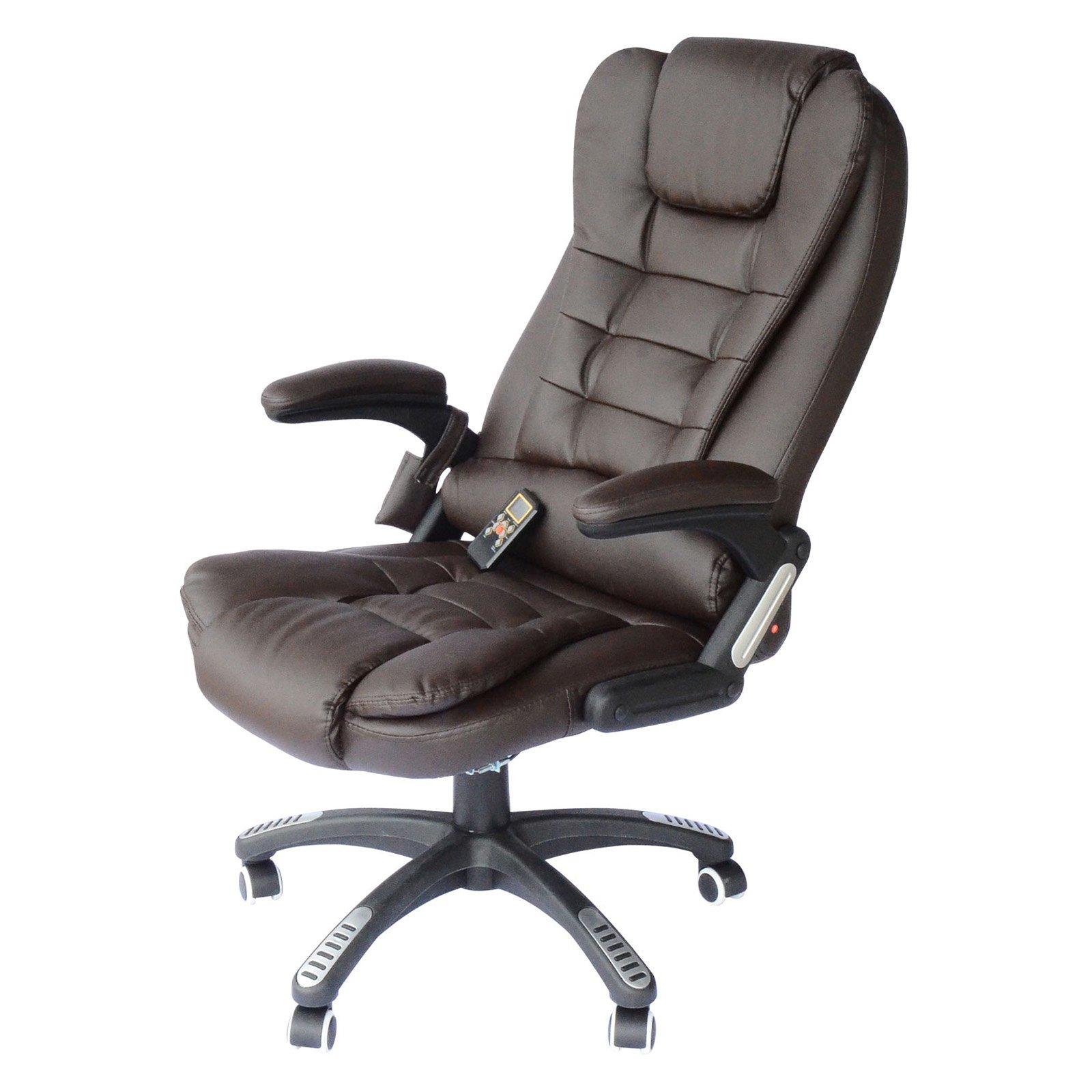 HomCom Executive Ergonomic PU Leather Heated Vibrating Massage