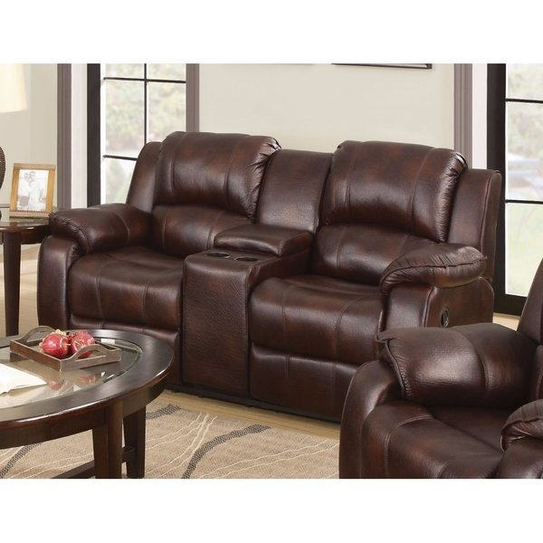 Shop Polished MicroFiber Loveseat With Console (Motion), Brown
